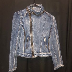 Choies Blue Jean Denim Jacket with Zippers